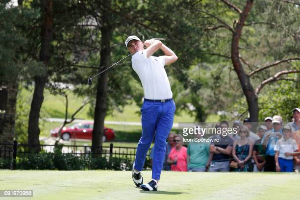 PGA golfer Justin Thomas tees off on the 2nd hole during the Memorial Tournament Third Round on June 03 2017 at Muirfield Village Golf Club in Dublin...