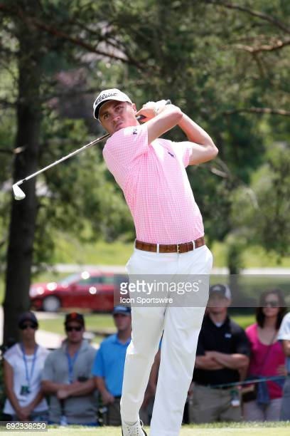 PGA golfer Justin Thomas tees off on the second hole during the Memorial Tournament Final Round on June 04 2017 at Muirfield Village Golf Club in...