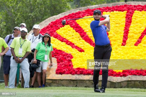 PGA golfer Kyle Stanley plays his shot from the 18th tee during Shell Houston Open on April 02 2017 at Golf Club of Houston in Humble TX