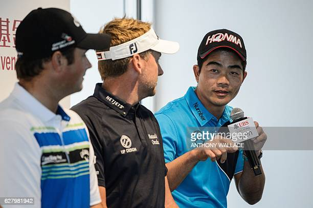 Golfer Liang Wenchong of China speaks as Patrick Reed of the US and Ian Poulter of Britain listen during a press conference in Hong Kong on December...