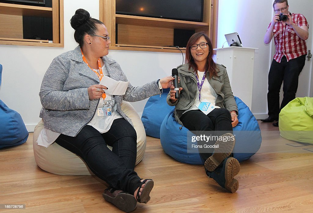 Golfer <a gi-track='captionPersonalityLinkClicked' href=/galleries/search?phrase=Lydia+Ko&family=editorial&specificpeople=5817103 ng-click='$event.stopPropagation()'>Lydia Ko</a> talks to comedian Irene Pink at the Telecom New Zealand iPhone 5S launch event on October 24, 2013 in Auckland, New Zealand.