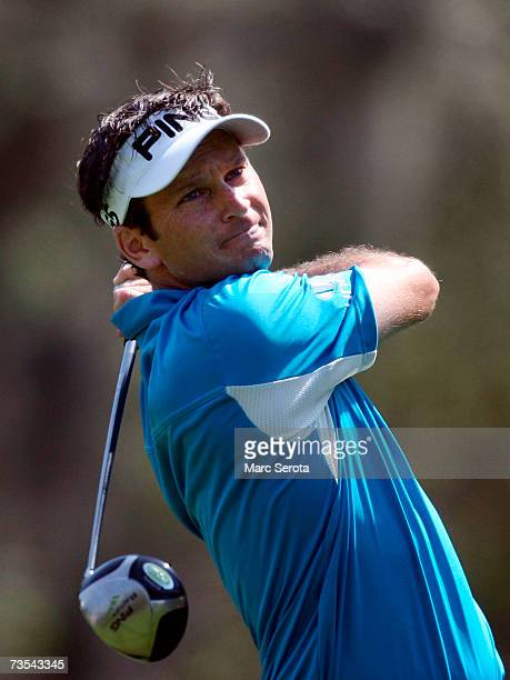 Golfer Mark Wilson tees off on the ninth hole during the third round of the PODS Championship on March 10 2007 at Westin Innisbrook Resort in Palm...