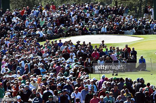 TOPSHOT US golfer Matt Kuchar tees off during Round 2 of the 80th Masters Golf Tournament at the Augusta National Golf Club on April 8 in Augusta...