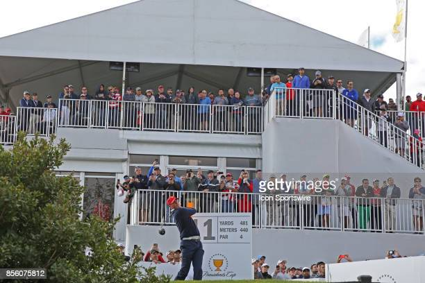 USA golfer Matt Kuchar tees off on the 11th hole during the third round of the Presidents Cup at Liberty National Golf Club on September 30 2017 in...