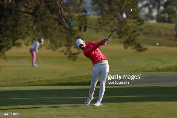 LPGA golfer Mel Reid hits a shot on the 14th hole during the second round of the Indy Women In Tech on September 8 2017 at the Brickyard Crossing...