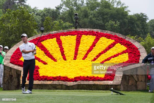 PGA golfer Michael Kim plays his shot from the 18th tee during Shell Houston Open on April 02 2017 at Golf Club of Houston in Humble TX