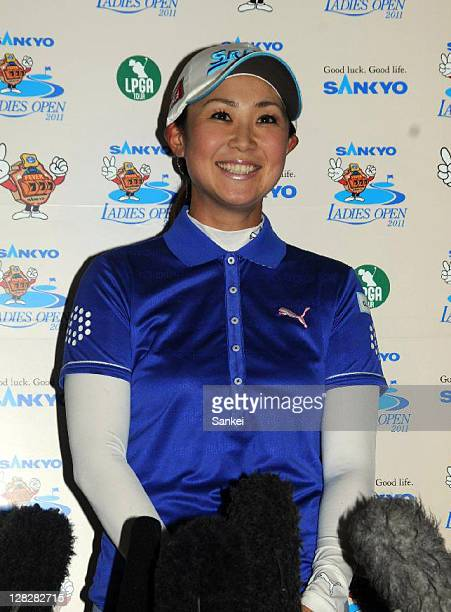 Golfer Miho Koga attends the press conference to announce her retirement at the end of this season after the practice round of the Sankyo Ladies Open...