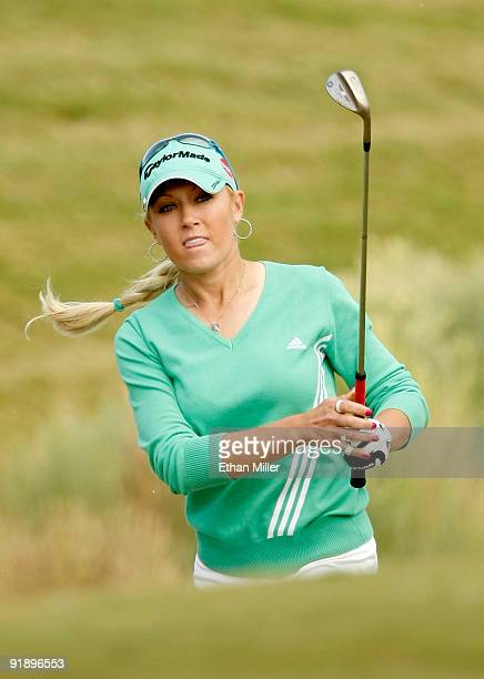 Golfer Natalie Gulbis watches her shot on the 3rd fairway during the Justin Timberlake Shriners Hospitals for Children Open Championship ProAm at the...