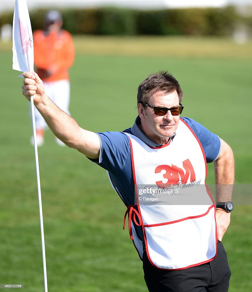 Golfer Nick Faldo is seen on the 18th hole during the 3M Celebrity Challenge before the AT&T Pebble Beach National Pro-Am at the Pebble Beach Golf Links on February 11, 2015 in Pebble Beach, California.