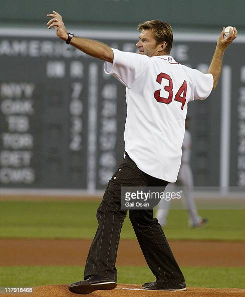Golfer Nick Faldo throws out the ceremonial first pitch at the Boston Red Sox vs the Baltimore Orioles Game at Fenway Park in Boston Massachusett on...