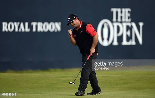 US golfer Patrick Reed celebrates holing a putt the 18th green during his final round on day four of the 2016 British Open Golf Championship at Royal...