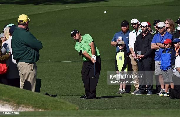 US golfer Patrick Reed plays a shot on the 2nd hole during Round 1 of the 80th Masters Golf Tournament at the Augusta National Golf Club on April 7...