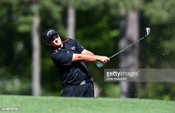 US golfer Patrick Reed tees off on the 12th hole during Round 2 of the 80th Masters Golf Tournament at the Augusta National Golf Club on April 8 in...