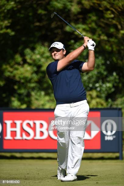 US golfer Patrick Reed watches his shot from the 5th tee during his opening round on the first day of the Open Golf Championship at Royal Birkdale...