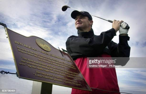 Golfer Paul Lawrie unveils a plaque to rename the sixth hole of Carnoustie golf course 'Hogan's Alley' on the 50th anniversary of Ben Hogan's famous...