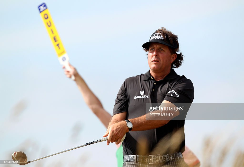 US golfer Phil Mickelson plays from the sixth tee at Muirfield golf course at Gullane in Scotland on July 15, 2013 ahead of The 2013 Open Golf Championship. AFP PHOTO/Peter MUHLY