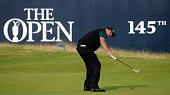 US golfer Phil Mickelson reacts as he putts on the 18th hole during his first round 63 on the opening day of the 2016 British Open Golf Championship...