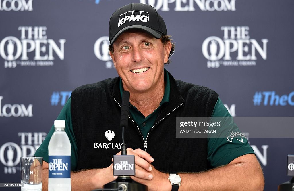 US golfer Phil Mickelson speaks to members of the media at a press conference after his first round 63 on the opening day of the 2016 British Open Golf Championship at Royal Troon in Scotland on July 14, 2016. Former champion Phil Mickelson went clear at the top of the leaderboard at the British Open on Thursday after a stunning eight-under-par first round of 63 at Royal Troon. USE