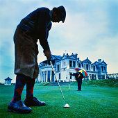 Golfer putting, St. Andrews, Fife, Scotland (Digital Enhancement)