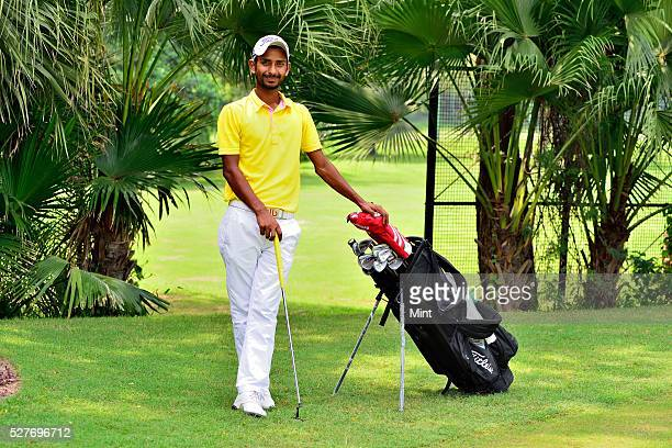 Golfer Rashid Khan poses for a profile shoot in Delhi Golf Club on August 18 2015 in New Delhi India