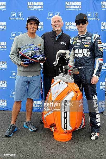 PGA golfer Rickie Fowler Farmers Insurance Head of Sponsorships Events and Corporate Giving Chuck Browning and NASCAR driver Kasey Kahne participate...