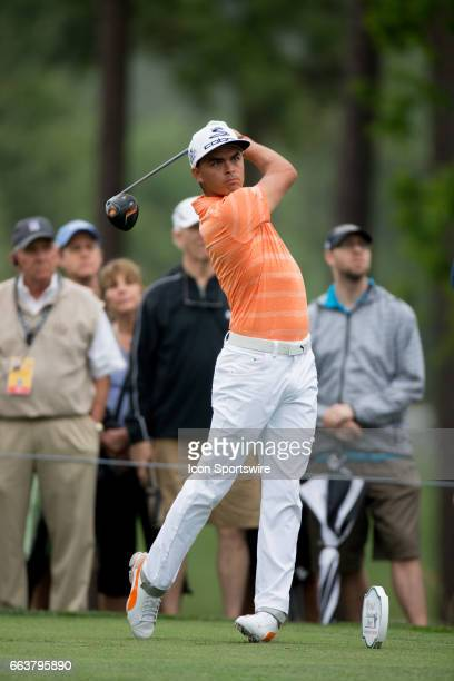 PGA golfer Rickie Fowler plays his shot from the fourth tee during the Shell Houston Open on April 02 2017 at Golf Club of Houston in Humble TX