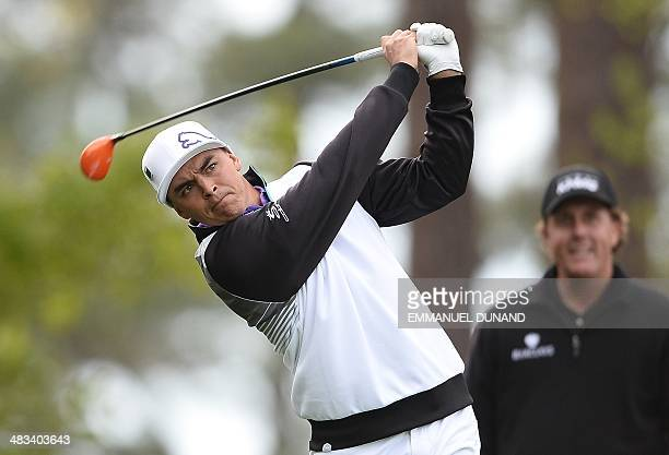 US golfer Ricky Fowler tees off during a practice round for the Masters Tournament at Augusta National Golf Club Augusta Georgia April 8 2014 AFP...