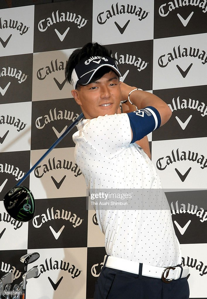Golfer <a gi-track='captionPersonalityLinkClicked' href=/galleries/search?phrase=Ryo+Ishikawa&family=editorial&specificpeople=4297023 ng-click='$event.stopPropagation()'>Ryo Ishikawa</a> poses for photographs during a press conference on his contract with Callaway on January 10, 2013 in Narita, Chiba, Japan. The contract is worth estimated 600 million Japanese yen (approximately 6.74 million U.S. dollars) per year, Ishikawa challenges to the U.S. PGA Tour this year.
