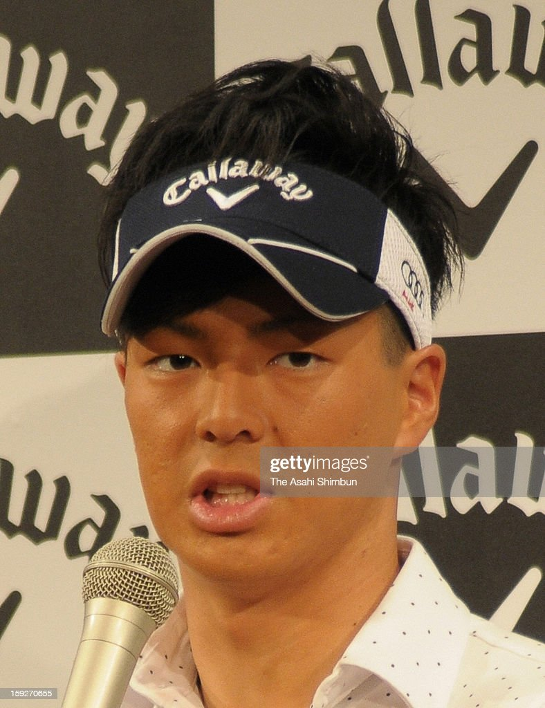 Golfer Ryo Ishikawa speaks during a press conference on his contract with Callaway on January 10, 2013 in Narita, Chiba, Japan. The contract is worth estimated 600 million Japanese yen (approximately 6.74 million U.S. dollars) per year, Ishikawa challenges to the U.S. PGA Tour this year.