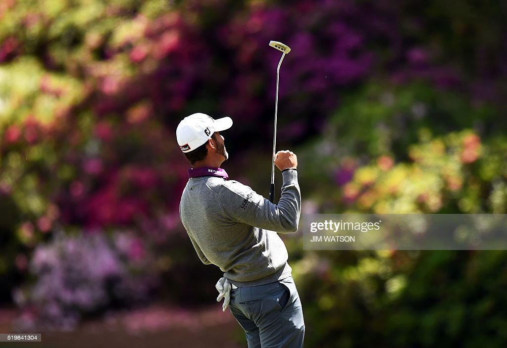 US golfer Scott Piercy reacts after putting on the 14th hole during Round 2 of the 80th Masters Golf Tournament at the Augusta National Golf Club on...
