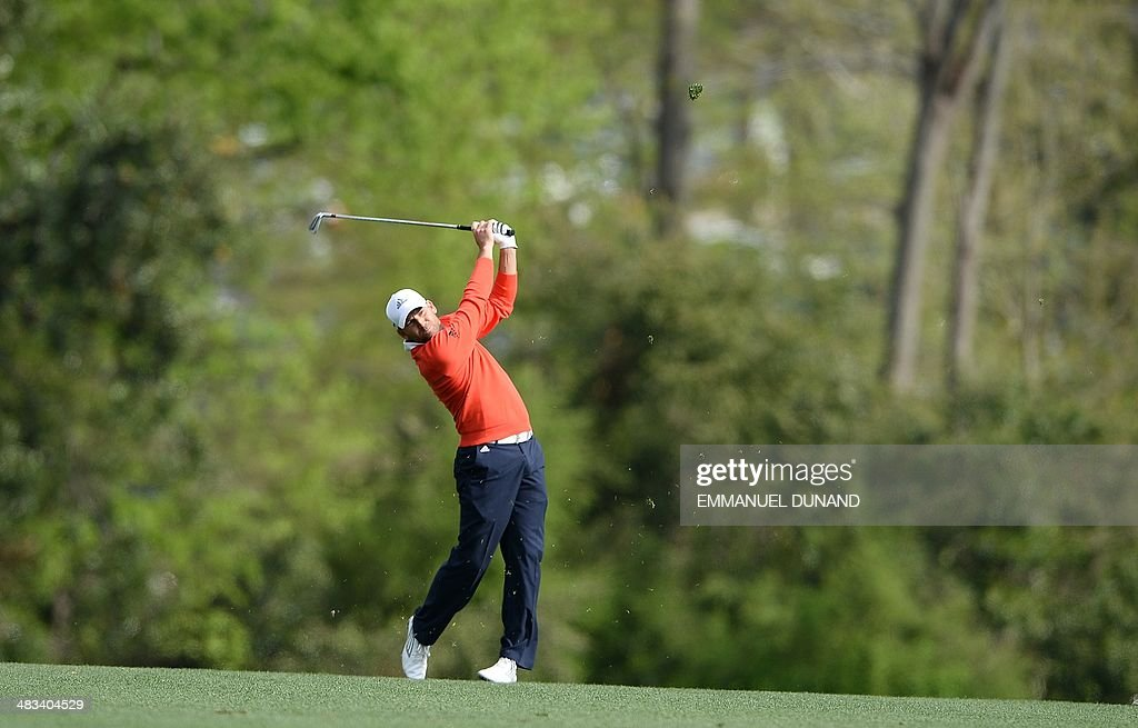 Golfer Sergio Garcia from Spain plays a practice round for the Masters Tournament at Augusta National Golf Club Augusta Georgia April 8 2014 AFP...