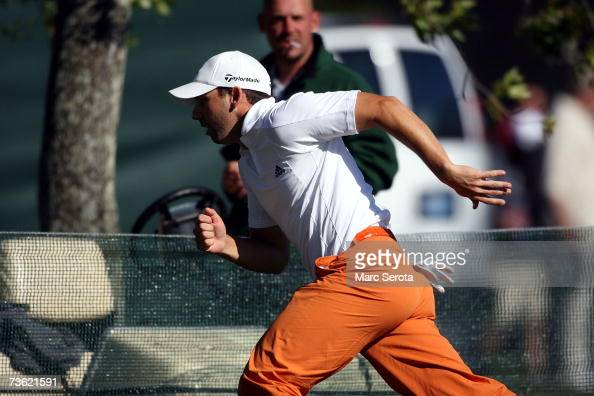 Golfer Sergio Garcia from Spain runs to the 16th hole at the Arnold Palmer Invitational at Bay Hill on March 17 2007 in Orlando Florida
