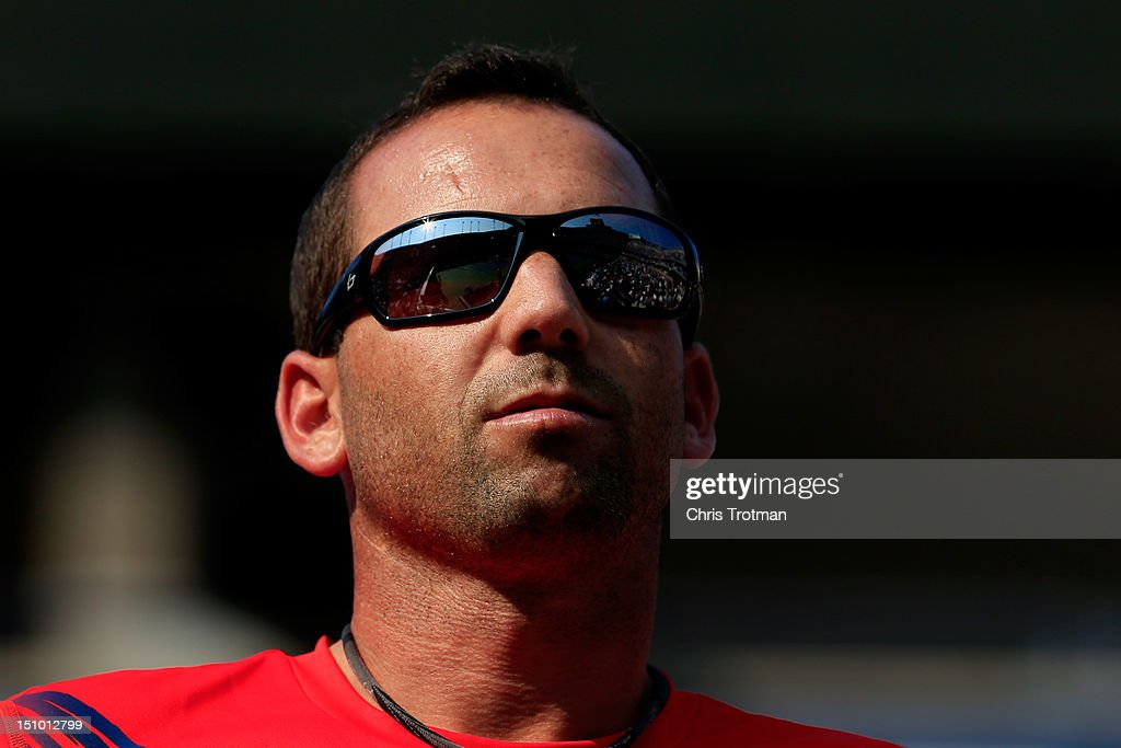 Golfer Sergio Garcia of Spain watches play on Day Four of the 2012 US Open at the USTA Billie Jean King National Tennis Center on August 30 2012 in...