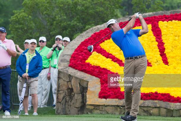 PGA golfer Stewart Cink plays his shot from the 18th tee during Shell Houston Open on April 02 2017 at Golf Club of Houston in Humble TX