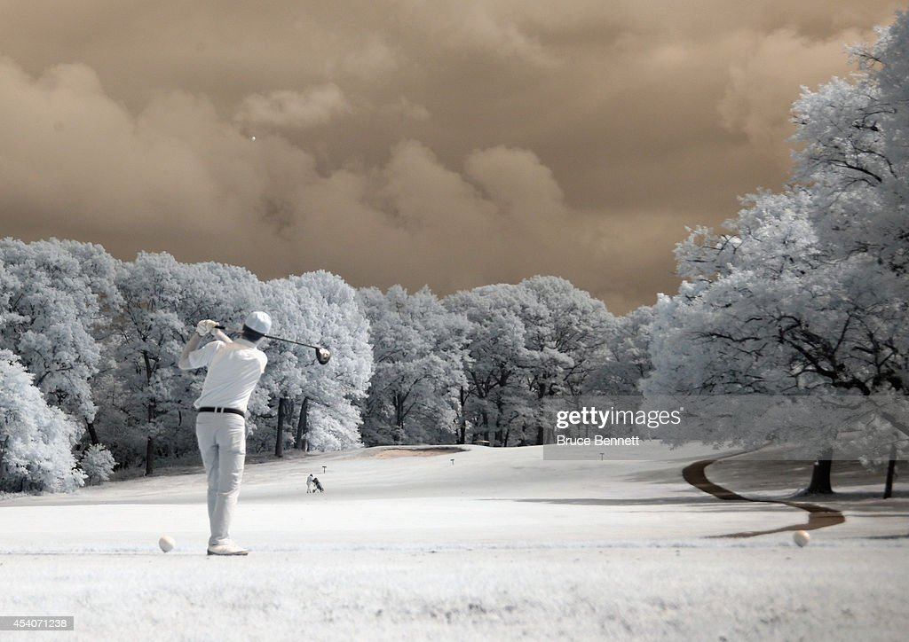 A golfer tees off at the Bethpage State Park on August 23, 2014 in Bethpage, New York.