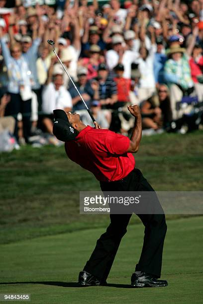 Golfer Tiger Woods celebrates after a successful putt on the 18th hole during day four of the 108th US Open at Torrey Pines Golf Course in La Jolla...