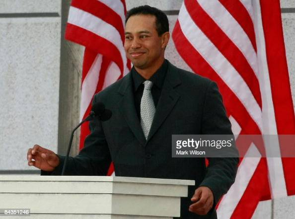 Golfer Tiger Woods speaks at the 'We Are One The Obama Inaugural Celebration at The Lincoln Memorial' January 18 2009 in Washington DC The event...