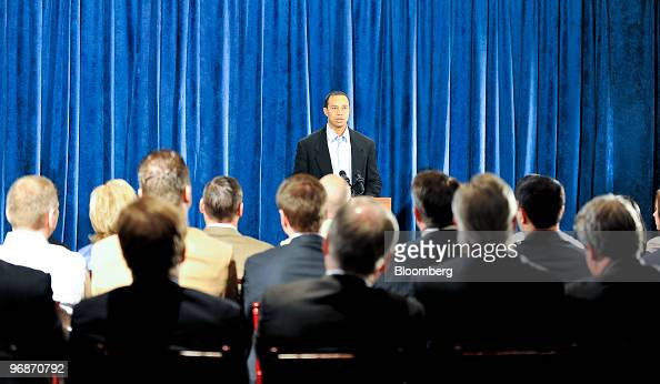 Golfer Tiger Woods speaks during a press conference at TPC Sawgrass Clubhouse headquarters of the PGA Tour in Ponte Vedra Beach Florida US on Friday...