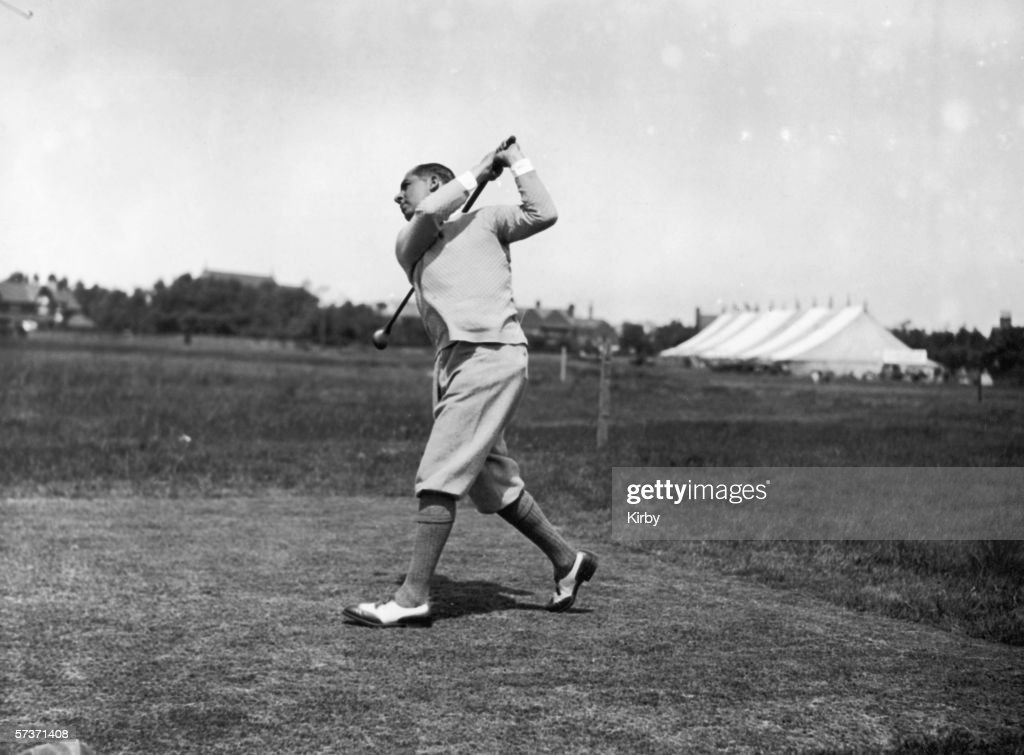 US golfer Walter Hagen drives during the Open Golf Championships at Hoylake June 1924