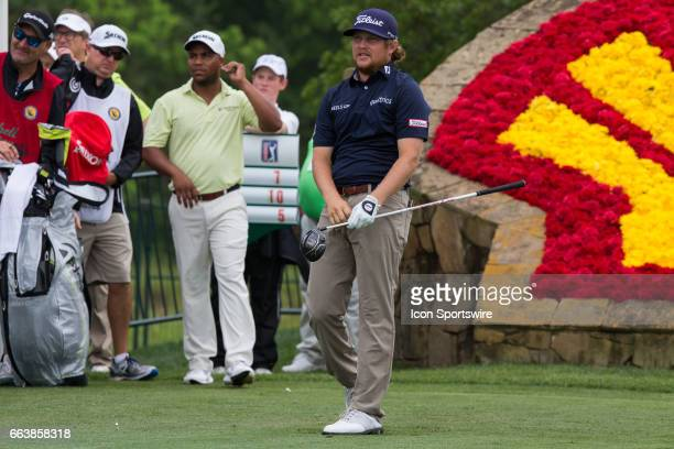 PGA golfer Zac Blair looks on after his shot from the 18th tee during Shell Houston Open on April 02 2017 at Golf Club of Houston in Humble TX