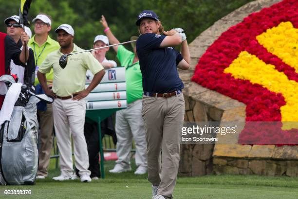 PGA golfer Zac Blair plays his shot from the 18th tee during Shell Houston Open on April 02 2017 at Golf Club of Houston in Humble TX