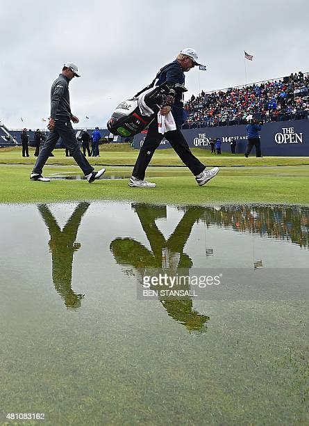US golfer Zach Johnson walks down the 2nd fairway during his second round on day two of the 2015 British Open Golf Championship on The Old Course at...
