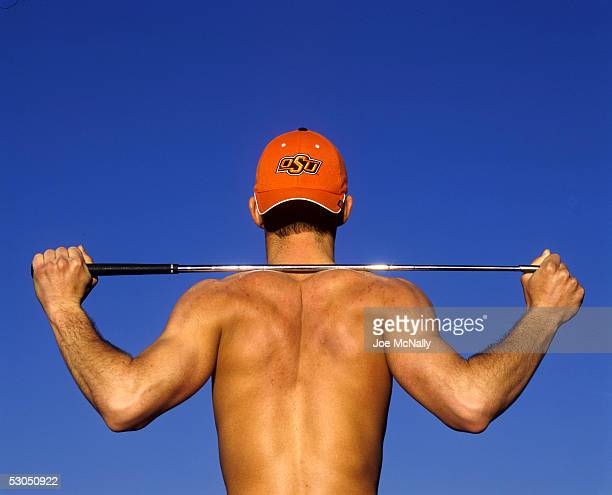 Golfer Zack Robinson a headliner member of the Oklahoma State golf team shows off his buff torso 2004 Stillwater Oklahoma Robinson was a 2003...