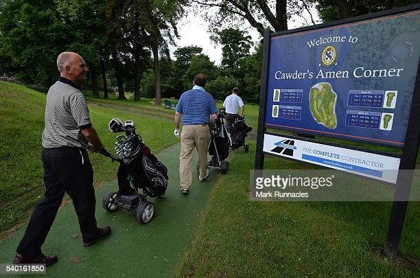 Golfers at Cawders Amen Corner during the PGA National ProAm Qualifiers Scotland at Cawder Golf Club on June 14 2016 in Glasgow Scotland