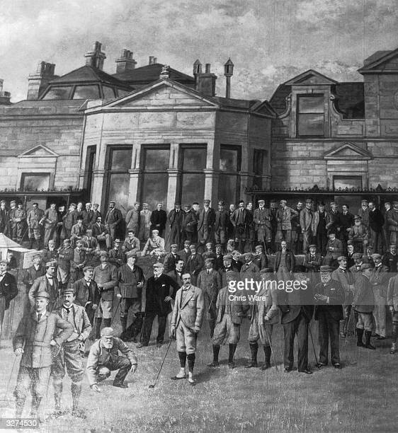 Golfers attending the Open Golf Championship standing outside St Andrews clubhouse at the golf club in Fife The Royal and Ancient golf club at St...