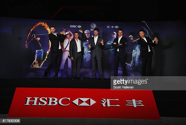 Golfers Dustin Johnson Rickie Fowler and Bubba Watson of the United States Henrik Stenson of Sweden and Haotong Li of China pose on stage at the...