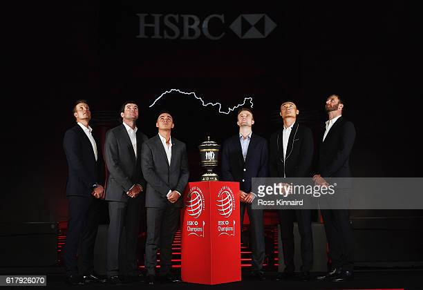 Golfers Henrik Stenson of Sweden Bubba Watson and Rickie Fowler of the United States Russell Knox of Scotland Haotong Li of China and Dustin Johnson...