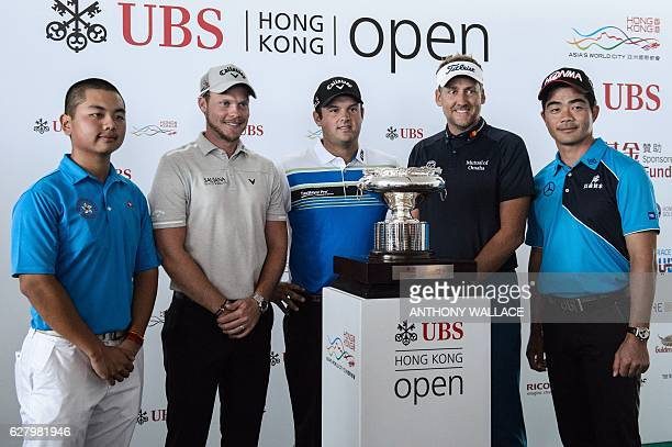 Golfers Humphrey Wong of Hong Kong Danny Willett of Britain Patrick Reed of the US Ian Poulter of Britain and Liang Wenchong of China pose in front...