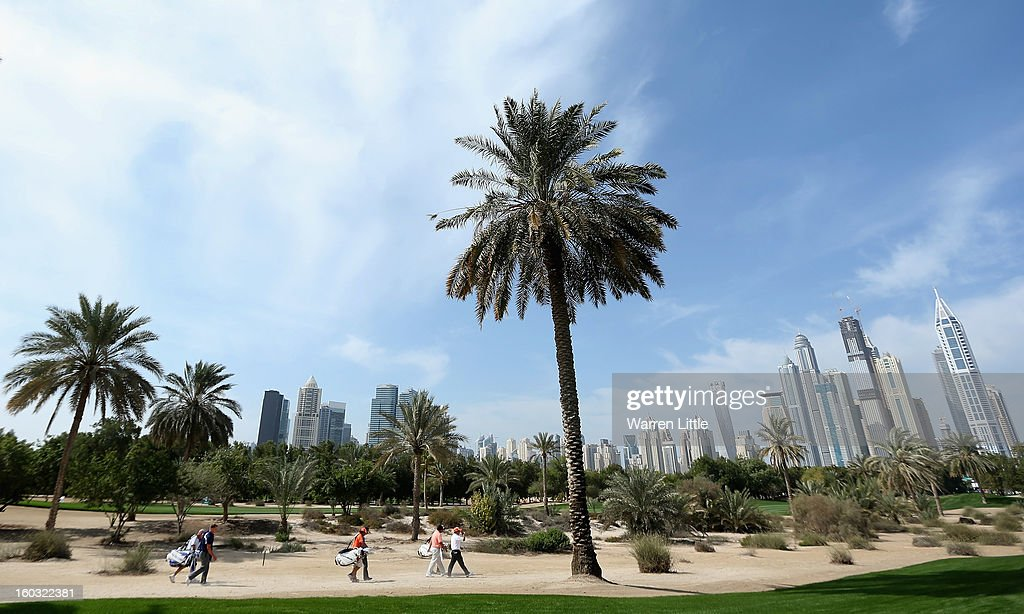 Golfers in action during a practice round ahead of the Omega Dubai Desert Classic on January 29, 2013 in Dubai, United Arab Emirates.
