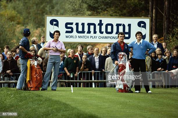 Golfers Isao Aoki of Japan and Seve Ballesteros competing in the World Match Play Championships at the Wentworth Club Surrey 14th October 1979 Aoki...